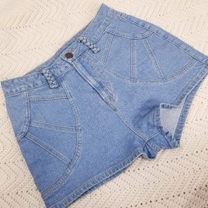 High Waist Light Wash Denim Shorts